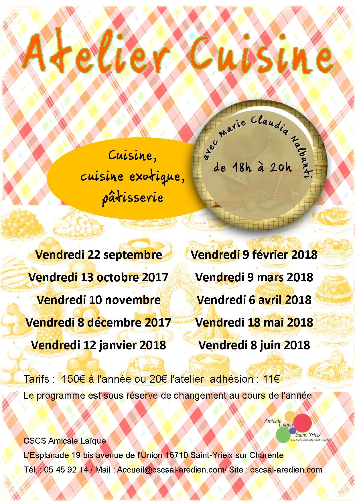 Cscs amicale la que de saint yrieix une association for Atelier cuisine angouleme